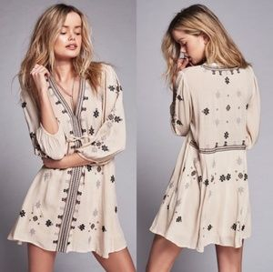 Free People Stargazer Cream Embroidered Dress